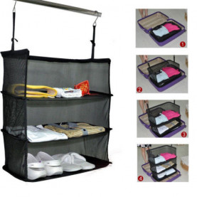 3 Layer Foldable Hanging Clothes Holder Organizer Packable Shelves Travel